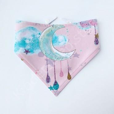 Слюнявчик непромокаемый «Сказочная луна» Розовый