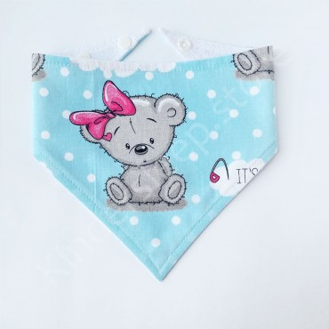 Слюнявчик непромокаемый «Мишка Тедди girl» Бирюзовый