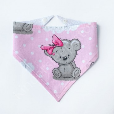 Слюнявчик непромокаемый «Мишка Тедди girl» Розовый