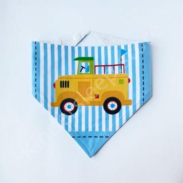Слюнявчик непромокаемый «Желтый грузовик» Голубой