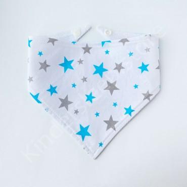Слюнявчик непромокаемый «Звезды Голубо-серые» цвет Белый