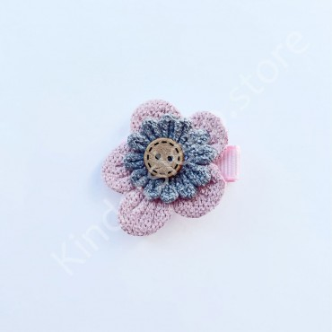 Заколка детская для волос Цветочек Розо-серая 1 шт