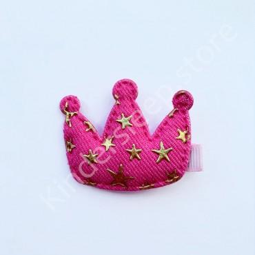 Заколка детская для волос Корона со звездами ярко Розовая 1 шт
