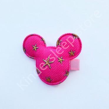 Заколка детская для волос Мики со звездами ярко Розовая 1 шт