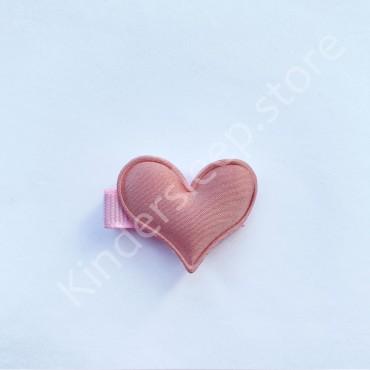 Заколка детская для волос Сердечко Розовая 1 шт