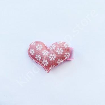 Заколка детская для волос Сердечко в цветочек Розовая 1 шт
