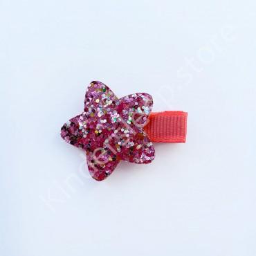 Заколка детская для волос Звездочка Розовая 1 шт