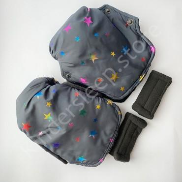 Муфты рукавички на коляску, Темно-синие со звездами