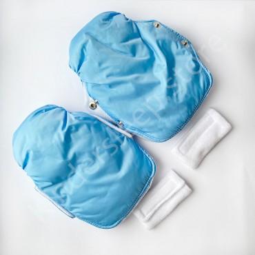 Муфты рукавички на коляску, Голубые