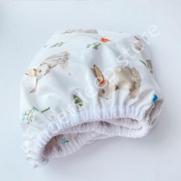 Наматрасник непромокаемый на резинке в детскую коляску 76x32 «Лесной зайчик», Белая