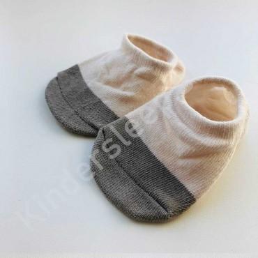 Хлопковые носочки, с силиконовой пяткой, 3-6 мес., 1 пара, бежево-серые