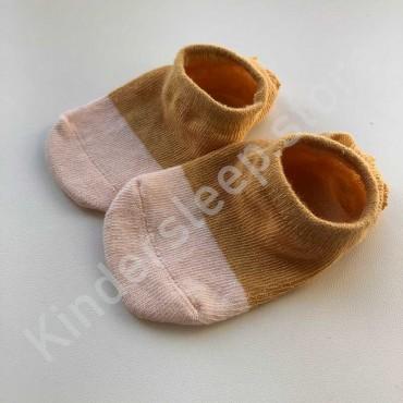 Хлопковые носочки, с силиконовой пяткой, 3-6 мес., 1 пара, горчично-бежевые