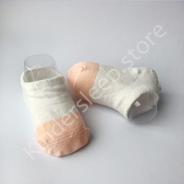 Хлопковые носочки, с силиконовой пяткой, 3-6 мес., 1 пара, Бело пудровые