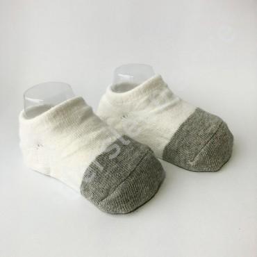 Хлопковые носочки, с силиконовой пяткой, 3-6 мес., 1 пара, бело-серые