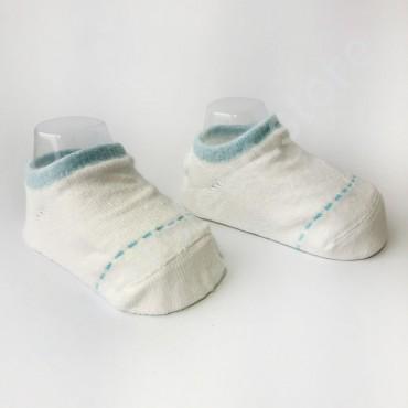 Хлопковые носочки, с силиконовой пяткой, 3-6 мес., 1 пара, белые с голубой строчкой