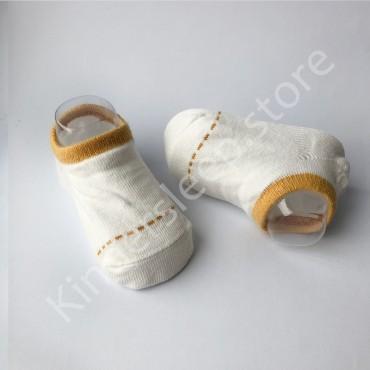 Хлопковые носочки, с силиконовой пяткой, 3-6 мес., 1 пара, Белые с горчичной строчкой