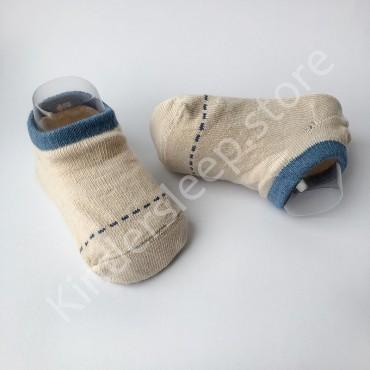Хлопковые носочки, с силиконовой пяткой, 3-6 мес., 1 пара, Бежевые с синей строчкой