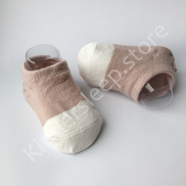 Хлопковые носочки, с силиконовой пяткой, 3-6 мес., 1 пара, Бежово белые