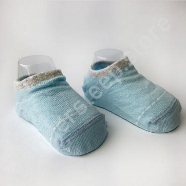 Хлопковые носочки, с силиконовой пяткой, 3-6 мес., 1 пара,  голубые с серой строчкой