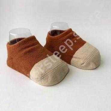 Хлопковые носочки, с силиконовой пяткой, 3-6 мес., 1 пара, коричнево-белые