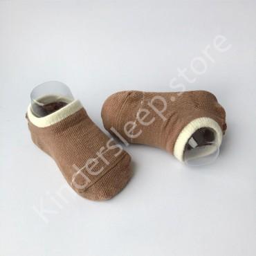 Хлопковые носочки, с силиконовой пяткой, 3-6 мес., 1 пара, Коричневые с белой строчкой