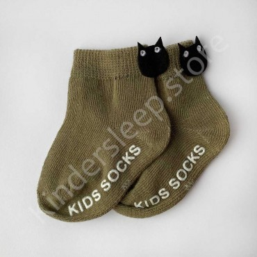 Хлопковые носочки, 0-3 мес., 1 пара, цвет Хакки