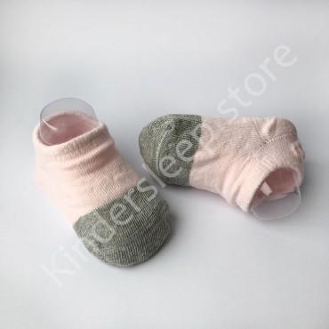 Хлопковые носочки, с силиконовой пяткой, 3-6 мес., 1 пара, Розово серые