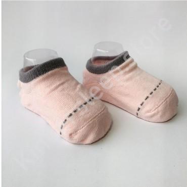 Хлопковые носочки, с силиконовой пяткой, 3-6 мес., 1 пара, пудра с серой строчкой