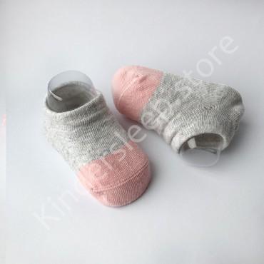 Хлопковые носочки, с силиконовой пяткой, 3-6 мес., 1 пара, Серо пудровые