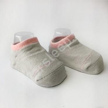 Хлопковые носочки, с силиконовой пяткой, 3-6 мес., 1 пара, серые с розовой строчкой