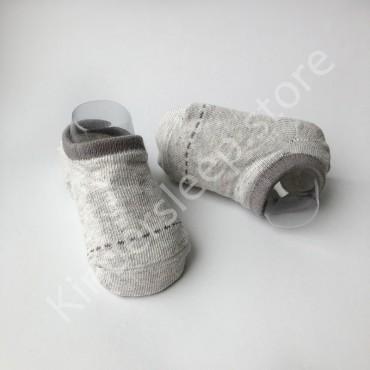 Хлопковые носочки, с силиконовой пяткой, 3-6 мес., 1 пара, Серые с темно серой строчкой