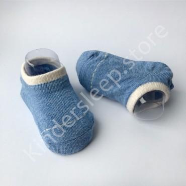 Хлопковые носочки, с силиконовой пяткой, 3-6 мес., 1 пара, Синие с белой строчкой