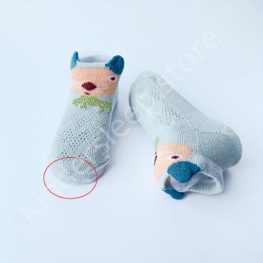 УЦЕНКА Летние хлопковые носки с сеткой и ушками, 0-3 мес, цвет Серый