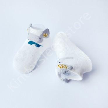 Летние хлопковые носки с сеткой и ушками, 0-3 мес, цвет Белый