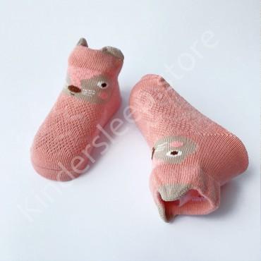 Летние хлопковые носки с сеткой и ушками, 0-3 мес цвет Кораловый