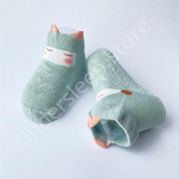 Летние хлопковые носки с сеткой и ушками, 0-3 мес, цвет Мятный