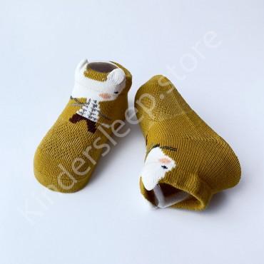 Летние хлопковые носки с сеткой и ушками, 0-3 мес., цвет Оливковый