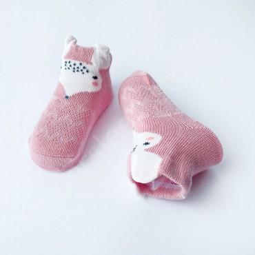 Летние хлопковые носки с сеткой и ушками, 0-3 мес, цвет Розовый