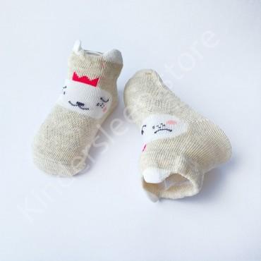 Летние хлопковые носки с сеткой и ушками, 0-3 мес, цвет Серо-бежевый