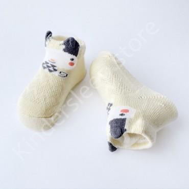 Летние хлопковые носки с сеткой и ушками, 0-3 мес, цвет Шампань