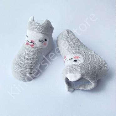 Летние хлопковые носки с сеткой и ушками, 0-3 мес, цвет Светло-серый