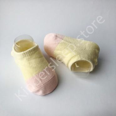 Хлопковые носочки, с силиконовой пяткой, 3-6 мес., 1 пара, Желто пудровые