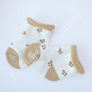 Махровые носки, 0-3 мес, 1 пара, Бело-бежевые, Лапки