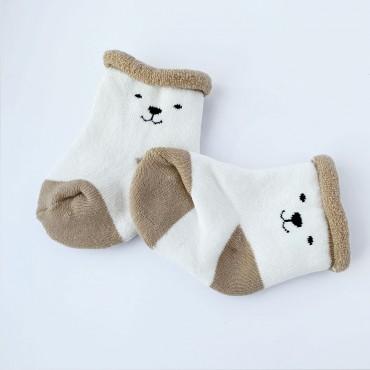 Махровые носки, 0-3 мес, 1 пара, Бело-бежевые, Мишка