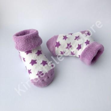 Махровые носки, 0-3 мес, 1 пара, бело-фиолетовые с фиолетовыми звездами