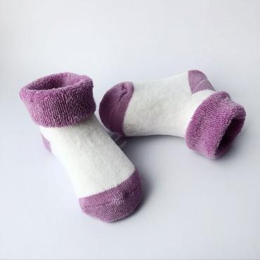 Махровые носки, 0-3 мес, 1 пара, бело-фиолетовые