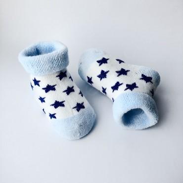Махровые носки, 3-6 мес, 1 пара, бело-голубые с синими звездами