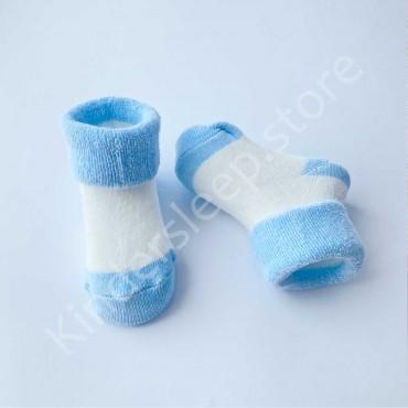 Махровые носки, 3-6 мес, 1 пара, бело-голубые
