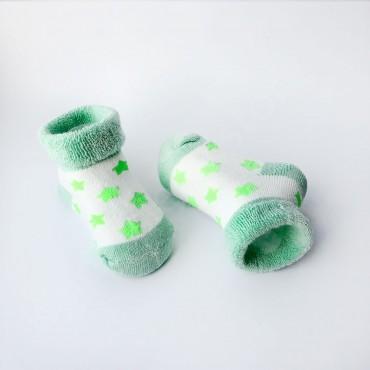 Махровые носки, 0-3 мес, 1 пара, бело-оливковые в салатовые звезды