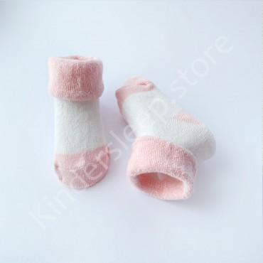 Махровые носки, 3-6 мес, 1 пара, бело-пудровые